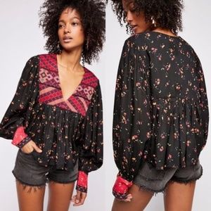 Free People Embroidered Bohemian Peasant Top NWT